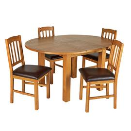 Argos Home Ashwell Oak Veneer Extending Table & 4 Chairs