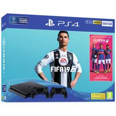 PS4 500GB Console with FIFA 19 and 2 Controllers Bundle