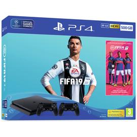 Sony PS4 500GB Console with 2 Controllers & FIFA 19 Bundle