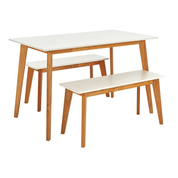 Pleasing Buy Argos Home Harlow Dining Table 2 White Benches Dining Table And Chair Sets Argos Inzonedesignstudio Interior Chair Design Inzonedesignstudiocom