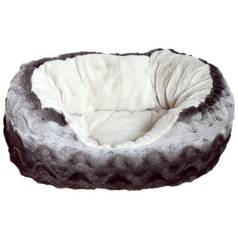 Rosewood Grey and Cream Oval Snuggle Plush Pet Bed - Medium