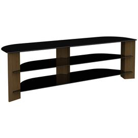 AVF Up to75 Inch TV Stand - Black Glass and Walnut Effect