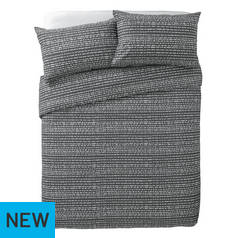 Argos Home Stockholm Grey Dash Print Bedding Set - Kingsize