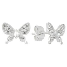 Revere Sterling Silver CZ Butterfly Stud Earrings
