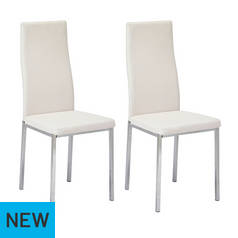 16bf648883d2 Argos Home Tia Pair of Chrome Dining Chairs - White