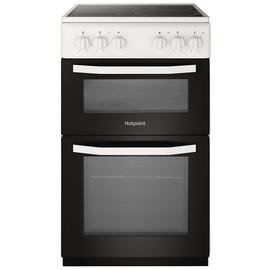 Hotpoint HD5V92KCW 50cm Twin Cavity Electric Cooker - White Best Price, Cheapest Prices