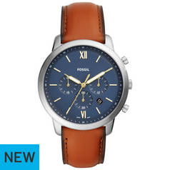 Fossil Blue Dial Mens Brown Leather Strap Watch