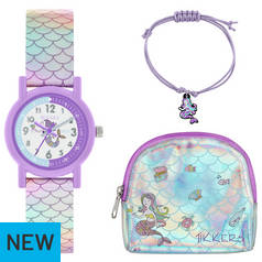 Tikkers Mermaid Watch Charm Bracelet and Purse Set
