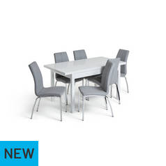 Argos Home Lyssa XL Extendable Table 6 Milo Chairs