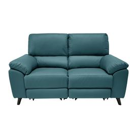 Argos Home Elliot 2 Seater Leather Mix Recliner Sofa - Teal