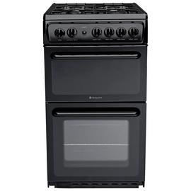 Hotpoint HD5G00KCB Twin Cavity Gas Cooker - Black
