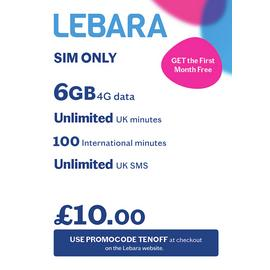 Lebara 4GB Pay As You Go 30 Day Plan SIM Card