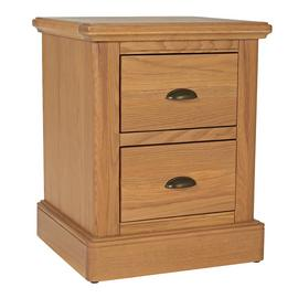 Argos Home Oakham 2 Drawer Bedside Table - Oak & Oak Veneer