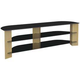 AVF Up to 75 Inch TV Stand - Black Glass and Oak Effect