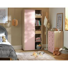 Argos Home Camden Pink & Acacia 1Door Shelf Wardrobe Package