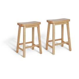 Argos Home Pair of Saddle Bar Stools - Natural