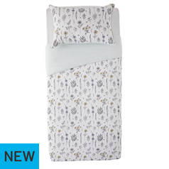 Argos Home Outline Floral Printed Bedding Set - Single