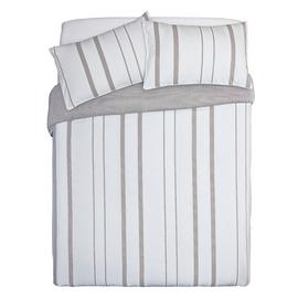 Argos Home Grey Yarn Dye Stripe Bedding Set - Superking