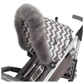 My Babiie Grey Fur Stroller Hood Trim