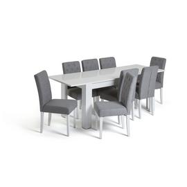 Habitat Miami Extending Table & 8 Button Chairs - Grey