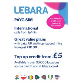 Lebara Pay As You Go SIM Card