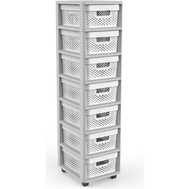 Curver Infinity 7 Drawer Tower - Grey & White