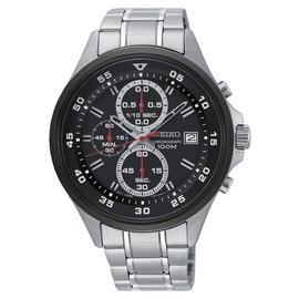 Seiko Black Dial Mens Stainless Steel Strap Watch