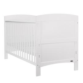 Obaby Grace Cot Bed and Fibre Mattress - White