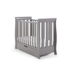 Obaby Stamford Space Saver Cot & Sprung Mattress Taupe Grey