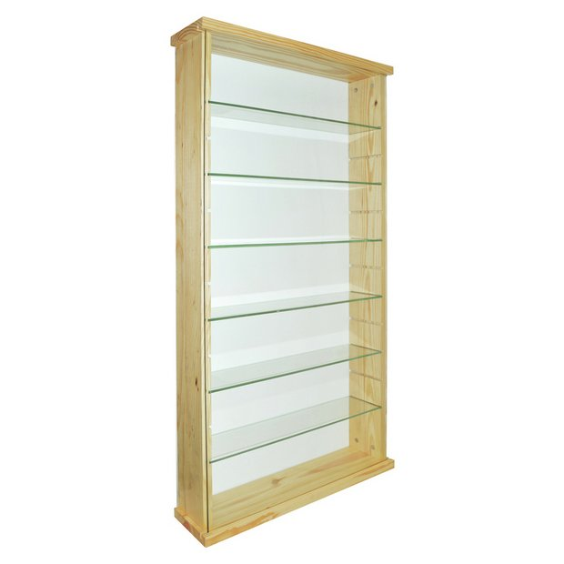 buy solid wood and glass display unit pine at. Black Bedroom Furniture Sets. Home Design Ideas
