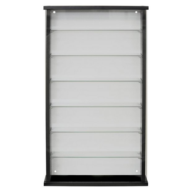 Single Door Solid Wood And Glass Display Cabinet Black Cabinets Argos