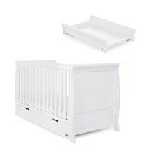 Obaby Stamford Classic Sleigh Cot Bed & Top Changer - White