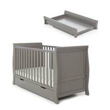 Obaby Stamford Classic Cot Bed & Top Changer - Taupe Grey