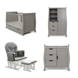Obaby Stamford Classic 3 Piece Set & Glider Chair Taupe Grey