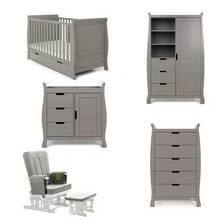 Obaby Stamford Classic Sleigh 5 Piece Room Set - Taupe Grey