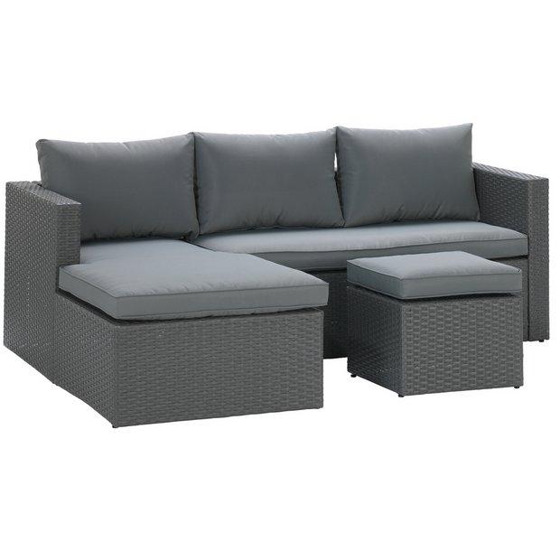 Buy Argos Home Rattan Effect Reversible Mini Corner Sofa - Grey | Garden  chairs and sun loungers | Argos