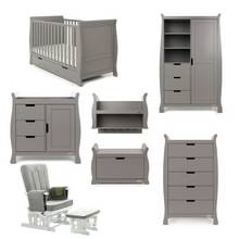 Obaby Stamford Classic Sleigh 7 Piece Room Set - Taupe Grey