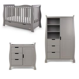 Obaby Stamford Luxe Sleigh 3 Piece Room Set - Taupe Grey