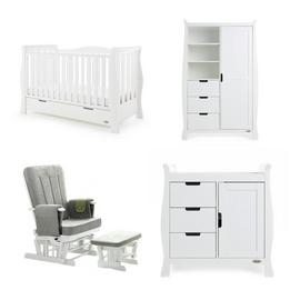Obaby Stamford Luxe 3 Piece Room Set & Deluxe Chair - White