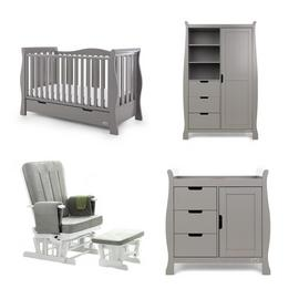 Obaby Stamford Luxe 4 Piece Set & Deluxe Chair - Taupe Grey