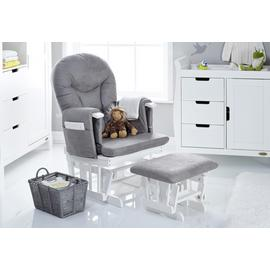 Obaby Reclining Glider Chair and Stool - White & Grey