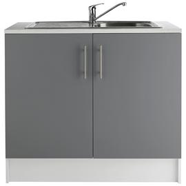 Argos Home Athina 1000mm S. Steel Kitchen Sink Unit - Grey
