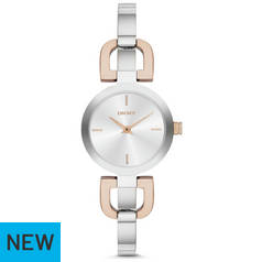 DKNY Ladies Silver Dial Stainless Steel Crosswalk Watch