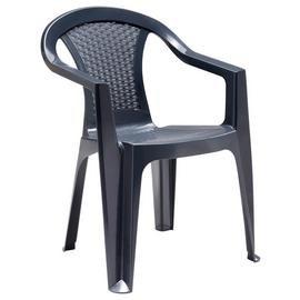 Argos Home Rattan Effect Stacking Chair - Dark Grey
