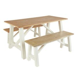 Argos Home Farmhouse Oak Effect Table & 2 Two Tone Benches