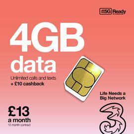 Three Unlimited Minutes, Texts & 4GB Data 12 Month SIM Card