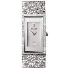 Seksy Rocks Silver Stone Set Strap Watch