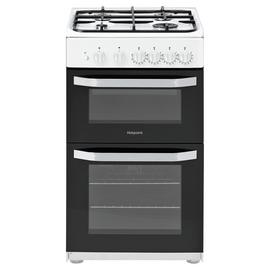 Hotpoint HD5G00KCW 50cm Twin Cavity Gas Cooker - White