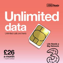 Three Unlimited Data, Minutes & Texts 1 Month SIM Card