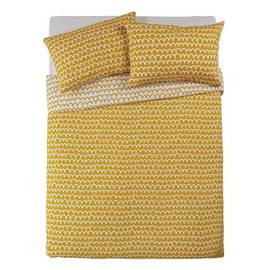 Argos Home Mustard Squiggle Bedding Set - Double